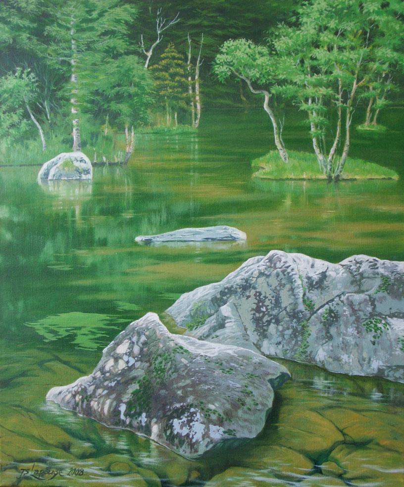 Paysage Japonais Eau Et Rochers Peinture A L Huile