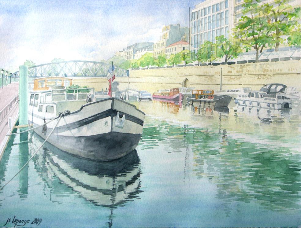 Watercolors paris port de l 39 arsenal - Port de l arsenal paris ...