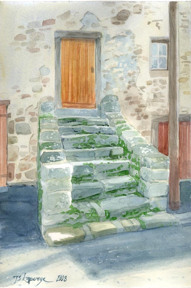 aquarelle un tr s vieil escalier moussu. Black Bedroom Furniture Sets. Home Design Ideas